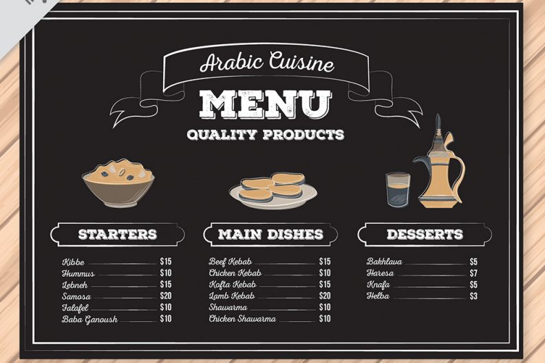 Top 15 free restaurant menu psd templates for cuisine for Arabian cuisine menu