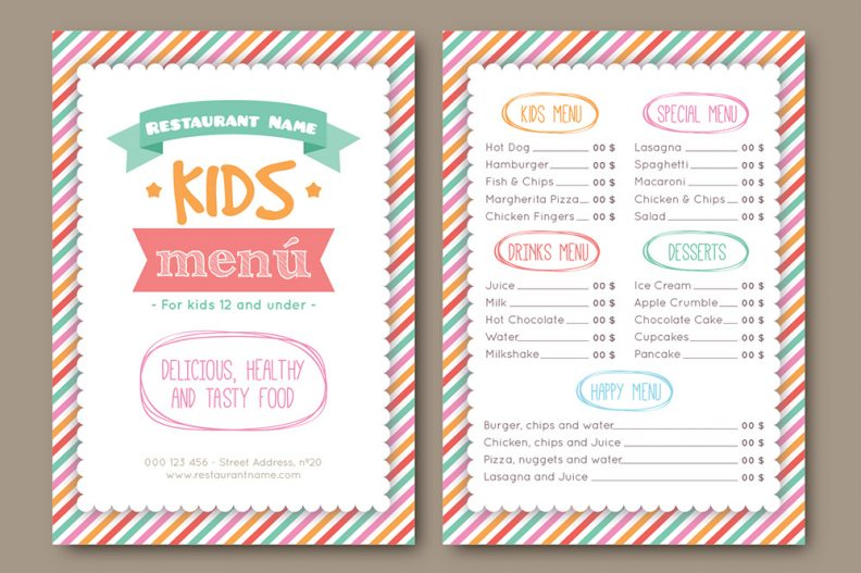 Libthemes  Free Kids Menu Templates