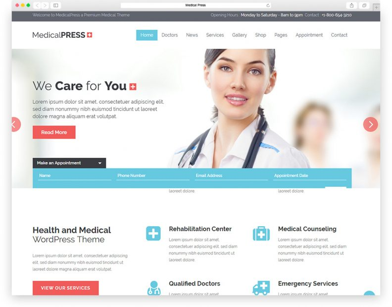 top 15 best health and medical wordpress themes for hospitals, Skeleton