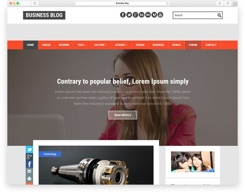 Top 15 best free html css3 bootstrap blog templates 2016 libthemes business blog is a clean flat and professional multi category blogging site category template for bloggers and blogging website wajeb Images