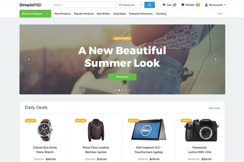Top 15 Free eCommerce PSD Templates for Setting up Online Store ...