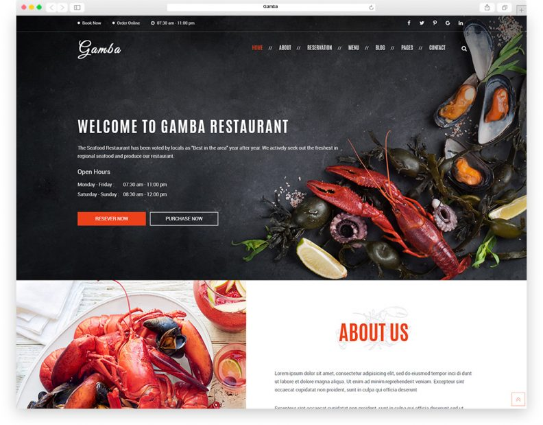 Top 15 best restaurant html website templates for building stunning gamba is an ambitious wordpress theme that can help you design an excellent web page every single element is finely tuned and refined reflecting a sense maxwellsz