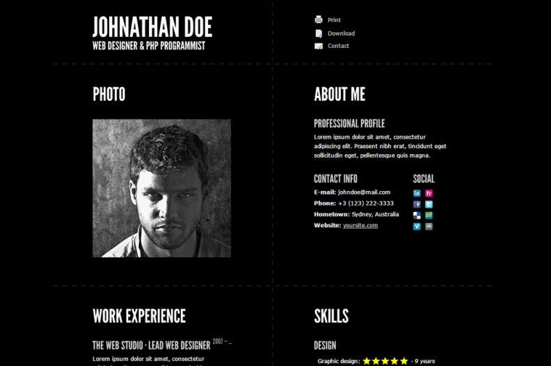 Top 10 Best Responsive HTML Resume Templates 2016 Edition  Html Resume Templates
