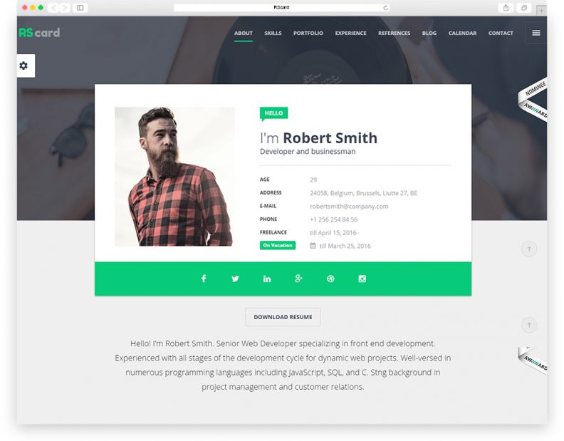 material - Html Resume Templates