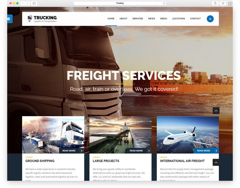 Top 10 best transportation and logistics html website templates 2016 trucking is html template created for logistics trucking transportation companies and small freight business it comes with wide range of homepage layouts cheaphphosting Images